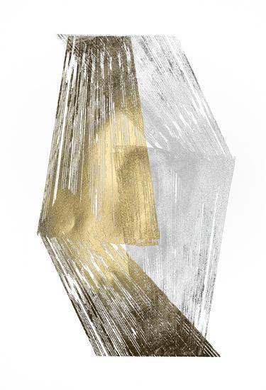 Gold & Silver Foil Stripes-Jennifer Goldberger-Art Print