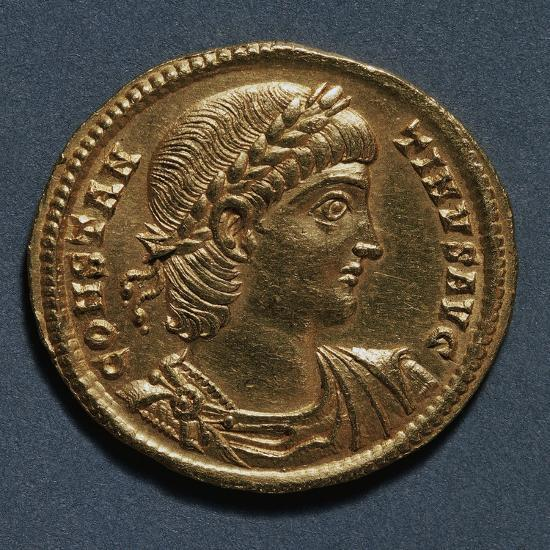 Gold Solidus of Constantine Great Bearing Image of Emperor, Recto, Roman Coins, 3rd-4th Century AD--Giclee Print