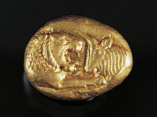 Gold Stater of King Croesus Depicting Lion Facing Bull, Greek Coins, 7th Century BC--Giclee Print