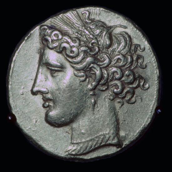 Gold tetradrachm with head of Tanit, 3rd century BC.-Unknown-Giclee Print