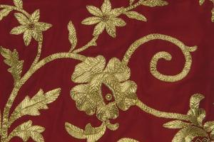 Gold Thread Embroidery on Traditional Female Costume of Piana Degli Albanesi, Sicily, Italy, Detail