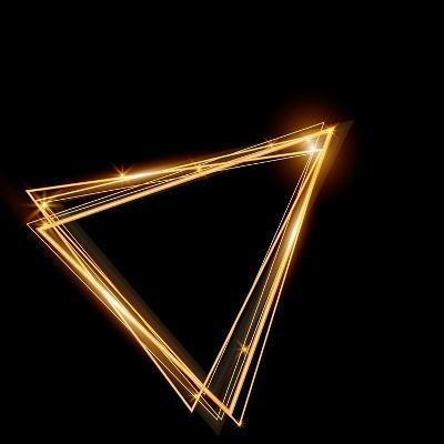 Gold Triangle Glowing Frame. Abstract Background. Jewelry Triangle. Can Use Design Element for Your-TTP999-Art Print