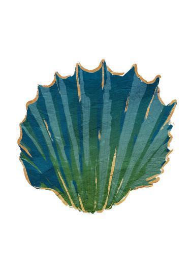 Gold Trim Sea Green Shells-Jace Grey-Art Print