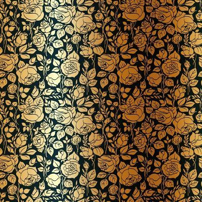 Gold Vintage Seamless Pattern with Garden Roses-Olga Korneeva-Art Print