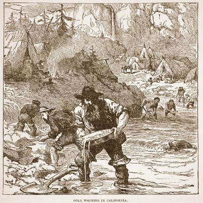 Gold Washing in California, from a Book Pub. 1896-American School-Giclee Print