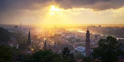 Golden Afternoon Sun Dramatically Breaking Through Rain Clouds over Spires of Heidelberg, Germany-Andy Brandl-Photographic Print