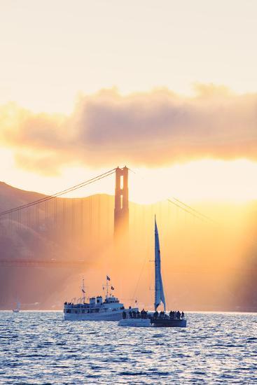 Golden Beams and Boats at Beautiful Golden Gate Bridge, San Francisco Bay-Vincent James-Photographic Print