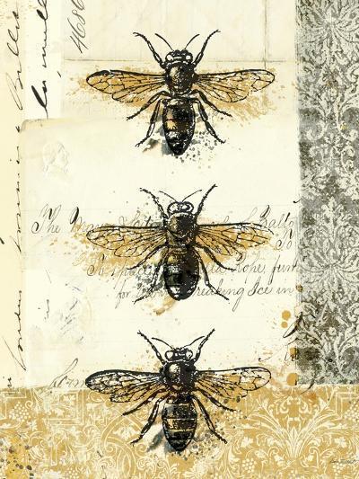 Golden Bees n Butterflies No 1-Katie Pertiet-Art Print