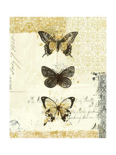 Golden Bees n Butterflies No 2-Katie Pertiet-Art Print
