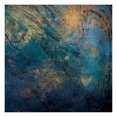 Golden Blue Marble Mate-Jace Grey-Art Print