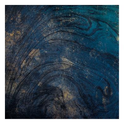 Golden Blue Marble-Jace Grey-Art Print