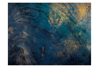 Golden Blue Marble-Jace Grey-Art Print