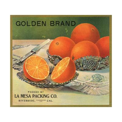 Golden Brand - Riverside, California - Citrus Crate Label-Lantern Press-Art Print
