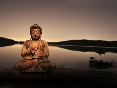 Golden Buddha Lakeside-Jan Lakey-Photographic Print