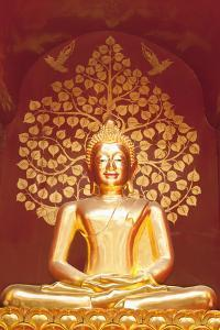 Golden Buddha Statue Inside the Chedi of Wat Phan On, Chiang Mai, Thailand