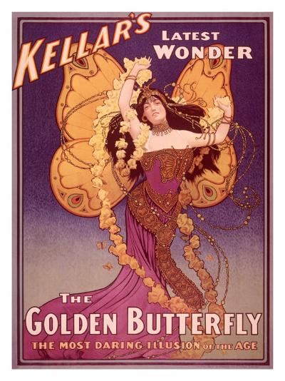 Golden Butterfly Illusion--Giclee Print
