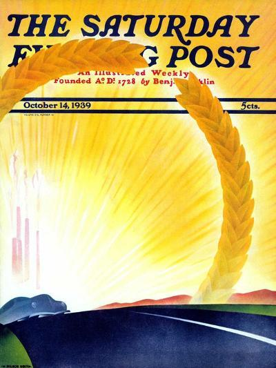 """""""Golden City,"""" Saturday Evening Post Cover, October 14, 1939-H^ Wilson Smith-Giclee Print"""