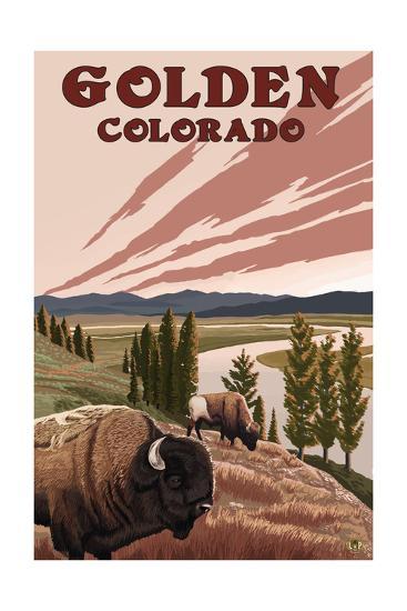 Golden, Colorado - Bison and River-Lantern Press-Art Print