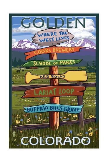 Golden, Colorado - Sign Destinations-Lantern Press-Art Print