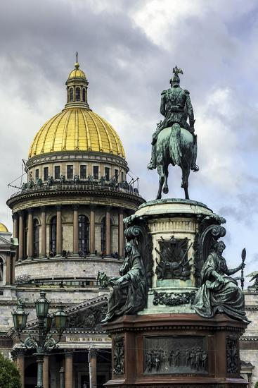 Golden Dome of St. Isaac's Cathedral Built in 1818 and the Equestrian Statue of Tsar Nicholas-Gavin Hellier-Photographic Print