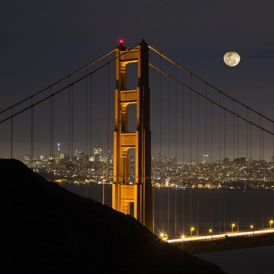 Golden Gate and Moon-Moises Levy-Photographic Print