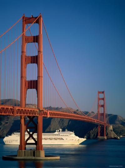 Golden Gate Bridge and Cruise Ship, San Francisco, California, USA-Steve Vidler-Photographic Print