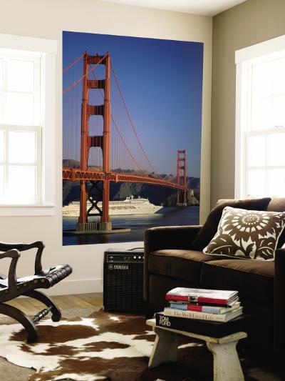Golden Gate Bridge and Cruise Ship, San Francisco, California, USA-Steve Vidler-Wall Mural