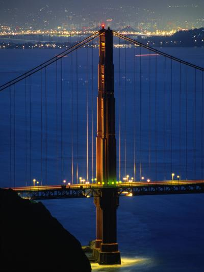 Golden Gate Bridge at Night, San Francisco, California, USA-Stephen Saks-Photographic Print