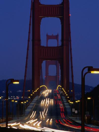 Golden Gate Bridge at Night, San Francisco, California, USA-Roberto Gerometta-Photographic Print