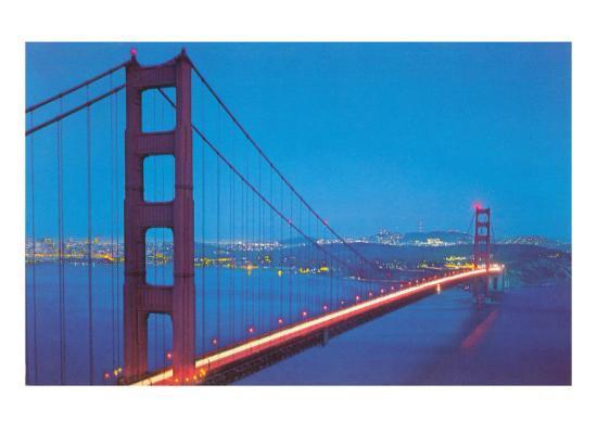 Golden Gate Bridge at Night, San Francisco, California--Art Print
