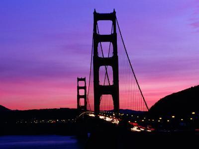 Golden Gate Bridge at Sunset, San Francisco, California, USA-Angus Oborn-Photographic Print