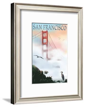 Golden Gate Bridge in Fog - San Francisco, California-Lantern Press-Framed Art Print