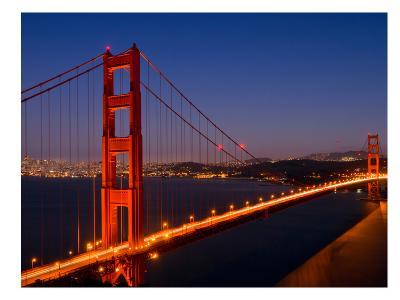 Golden Gate Bridge In The Evening-Melanie Viola-Art Print