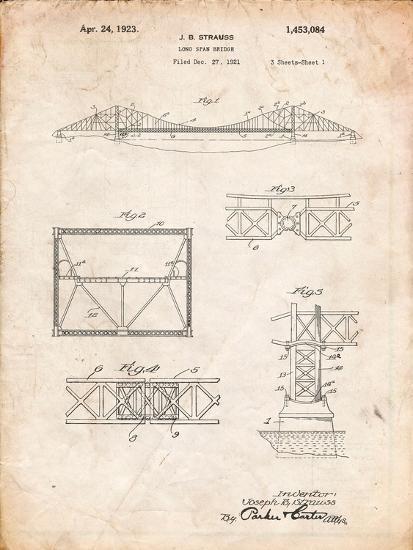 Golden Gate Bridge Patent, Long Span Bridge-Cole Borders-Art Print