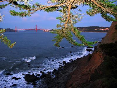 Golden Gate Bridge Seen from Legion of Honor, Mile Rock Beach Area-Raymond Gehman-Photographic Print