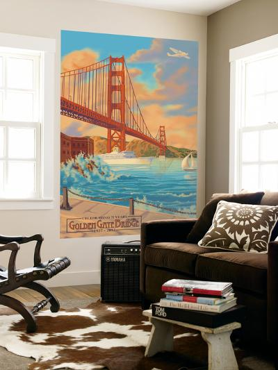 Golden Gate Bridge Sunset - 75th Anniversary - San Francisco, CA-Lantern Press-Wall Mural