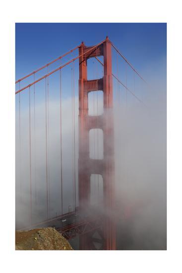 Golden Gate Bridge Tower in Fog 1-Henri Silberman-Photographic Print