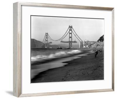 Golden Gate Bridge under Construction, From Baker Beach, c.1936--Framed Giclee Print