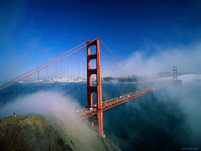 Golden Gate Bridge with Mist and Fog, San Francisco, California, USA-Steve Vidler-Photographic Print