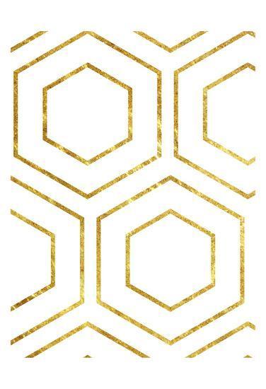 Golden Geo-Sheldon Lewis-Art Print