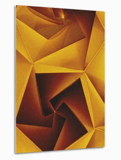 Golden Geometric Pentagons-Tim Kahane-Metal Print