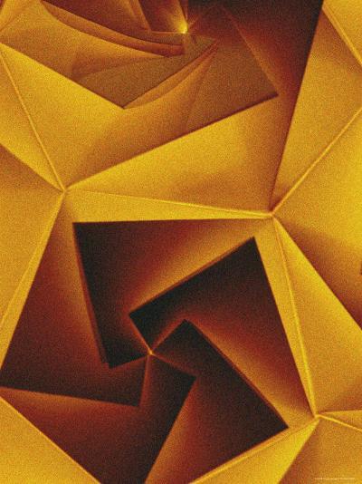 Golden Geometric Pentagons-Tim Kahane-Photographic Print