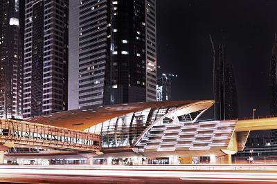 Golden Gleaming Roof of a Metro Station of the Rta in the Evening, Dubai Financial District-Axel Schmies-Photographic Print