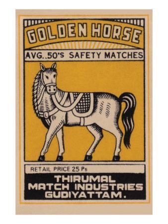 Golden Horse Avg. 50's Safety Matches--Art Print