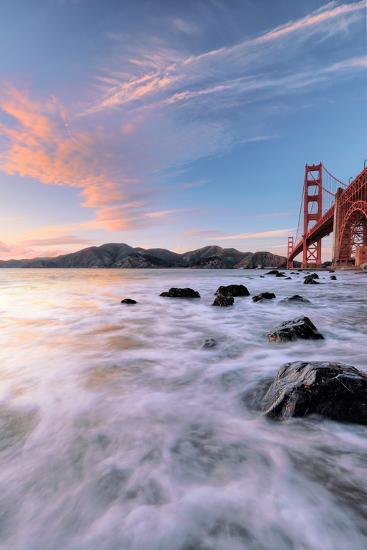 Golden Moment at Marshall Beach Golden Gate Bridge San Francisco-Vincent James-Photographic Print