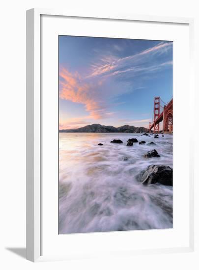 Golden Moment at Marshall Beach Golden Gate Bridge San Francisco-Vincent James-Framed Photographic Print