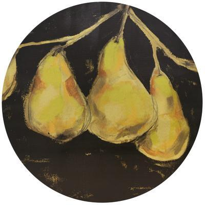 Golden Pears - Circular Gold Canvas Giclee Printed on 2 - Wood Stretcher Wall Art