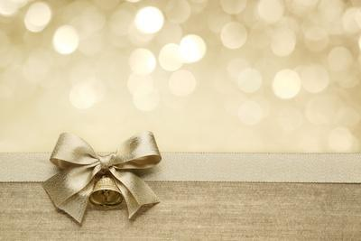 Golden Ribbon Bow With Bokeh Christmas Decoration Art Print By Liang Zhang