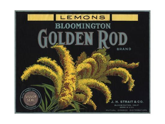 Golden Rod Brand - Bloomington, California - Citrus Crate Label-Lantern Press-Art Print