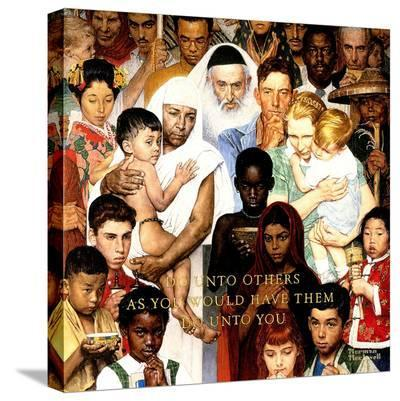 """""""Golden Rule"""" (Do unto others), April 1,1961-Norman Rockwell-Stretched Canvas Print"""